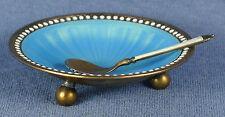 Blue Guilloche Enamel & Sterling Silver Footed Salt Cellar w/ Spoon