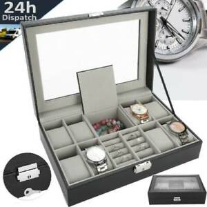 Mens 8 Grids Leather Watch Display Case Jewelry Collection Storage Holder Box