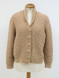 Vintage Handmade Chunky Knit Buttoned Tan Wool Cardigan S/M