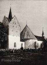 1924 Original SCANDINAVIA Photo Gravure Danish Denmark Horne Church Architecture