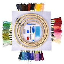 Lot Multi Colors Embroidery Cross Stitch Kits Sewing Skeins Floss Hoops Needles.