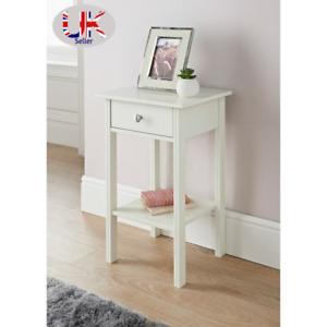 White Wooden Bedside Cabinet Table Lamp Nightstand Bedroom Storage 1 Drawer