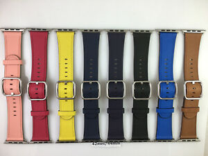 Original Genuine Apple Watch Silver/Gold classic buckle Leather band 42mm 44MM