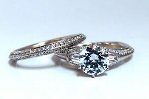 1.50ct Natural Zircon Diamonds Engagement Ring Suite Wedding Band 14Kt
