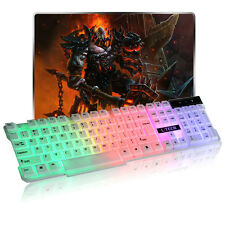 Wired USB Gaming Illuminated Colorful LED Backlight Multimedia PC Keyboard Brand