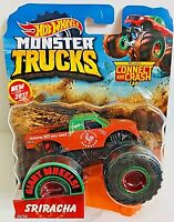 HOT WHEELS MONSTER TRUCKS SRIRACHA with CRUSHABLE CAR 1:64. NEW