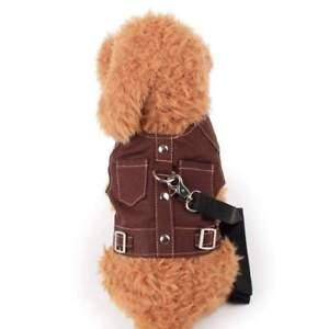 Pet Dog Harness Leash Set Cowboy Double Pockets Car Seat Safety Travel Vest Lead
