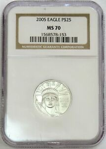 2005 PLATINUM $25 STATUE OF LIBERTY AMERICAN EAGLE 1/4 OZ COIN NGC MINT STATE 70