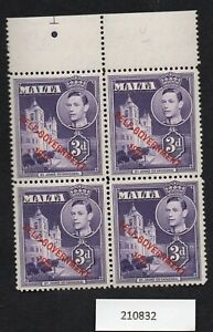 Malta KGVI U/M Margin Block of 4 SG240c 3d Dull Violet -Self Govt overprint