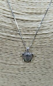 Sterling Silver Turtle with Swarovski Crystal Accents Pendant Necklace