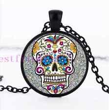 White sugar skull Jewelry Necklace Glass Dome Black Pendant Necklace