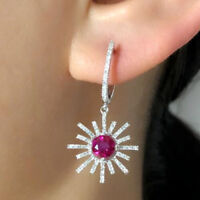 Natural Diamond Round Red Ruby Dangle Lady Earrings Solid 14K White Gold Jewelry