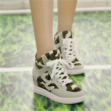 Casual Womens Camo Sneakers Lace Up Hidden Wedge Heels Platform High Top Shoes