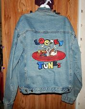 Men Time Warner Entertainment Co.Looney Tunes Embroidered Classic Denim Jacket L