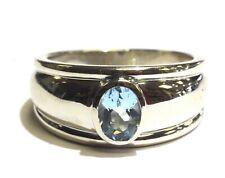 14k white gold oval aquamarine bezel set mens ring 7.9g gents womena ladies