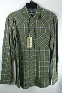 Men Shirt Small Snap Button Up Chest Pockets Western Outdoor Life  Green