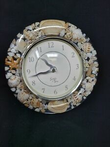 "Lucite Sea Shell Sands Of Time 8"" Wall Clock"