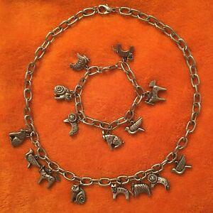 Rare LAUREL BURCH Silver Tone 8 Charm Pendants Necklace & Matching  Bracelet Cat