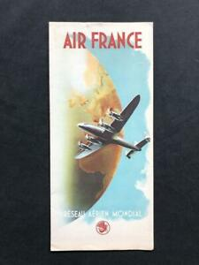 AIR FRANCE Airline ART DECO BROCHURE LITHOGRAPHIC 1948 Lockheed Constellation #2