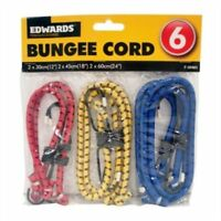 6x NEW BUNGEE STRAPS CORDS SET WITH HOOKS ELASTICATED ROPE CORD CAR BIKE LUGGAGE