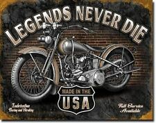 Legends - Never Die Metal Tin Sign Garage and Harley Wall Art