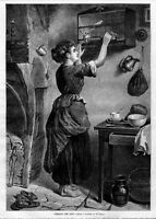YOUNG WOMAN FEEDING THE PET BIRDS, 1876 ANTIQUE PRINTS