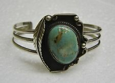 SOUTHWEST OLD PAWN ROYSTON TURQUOISE STERLING SHADOW BOX CUFF BRACELET N470-J
