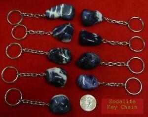 SODALITE Key Chain Zipper Pull rock stone specimen Blue white healing heavens