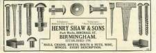 1926 Henry Shaw Park Works Birmingham Rivets Bolts Old Advert