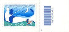 2011 francobollo Campionati Mondiali di Pesca Sportiva SX CODICE A BARRE 1422