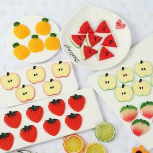 10 Pcs Artificial Pineapple/Watermelon/Peach/Strawberry Slices Blocks Fake Fruit