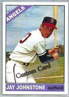 JAY JOHNSTONE LOS ANGELES ANGELS 1966 STYLE CUSTOM MADE BASEBALL CARD BLANK BACK