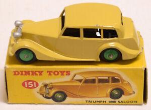 DINKY #151 TRIUMPH 1800 SALOON, FAWN BODY, GREEN HUBS, NEAR-MINT MODEL/ORIG BOX!