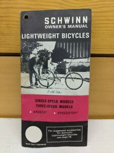 Vintage Schwinn Lightweight owner`s manual 1972