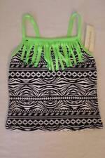 NEW Girl Tankini Top Swimsuit Medium 7 - 8 Black White Green Fringe Bathing Suit