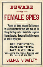 1917 WWI World War 1 Poster Beware of Female Spies Silence Military Wall Print
