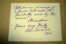 John Tenniel Hand Written Shakespeare Quote 1901 Inscribed Signed Autograph
