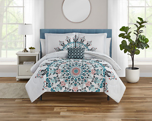 Teal Medallion 8 Piece Bed Set with Sheets and Decor Pillow, Queen