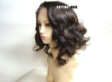 Deep Invisible Chestnut Brown Short Curly Lace Front Wig LF015-6