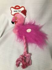 "PINK FLAMINGO Plush Dog Toy Squeaks ROPE Legs Stuffed 16"" Santa Hat Christmas"