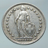 1940 SWITZERLAND -  HELVETIA Symbolizes SWISS Nation SILVER 2 Francs Coin i85828