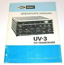 Very GOOD ~  DRAKE UV-3 FM Transceiver  - Operator's MANUAL