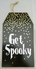 Get Spooky Halloween Sign Wood Black Wall Hanging Decor 6.5x11.5""