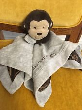 Preowned Carters First Gray Monkey Security Plush Tag-A-Long Blanket With Rattle