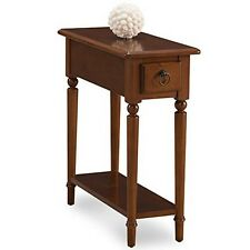 Leick Furniture 20017-PC Pecan Coastal Narrow Chairside Table With Shelf NEW