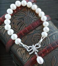 Bracelet Blanc Perle de Culture d`Eau Douce Argent Massive 925 Papillon A07