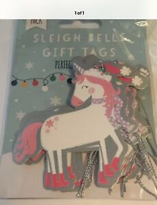 12 X UNICORN CHRISTMAS GIFT / PRESENT TAGS WITH SILVER GLITTER STRING