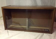 Vtg TEAC Wood Grain Veneer CD/DVD Cassette Storage Cabinet Sliding Glass Doors