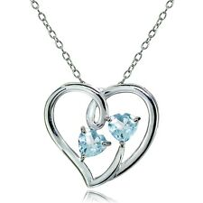 Sterling Silver Blue Topaz Double Open Heart Necklace