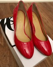 Ladies NINE WEST Red Patent Heeled Shoes Size Uk 4 Eur 37 US 6